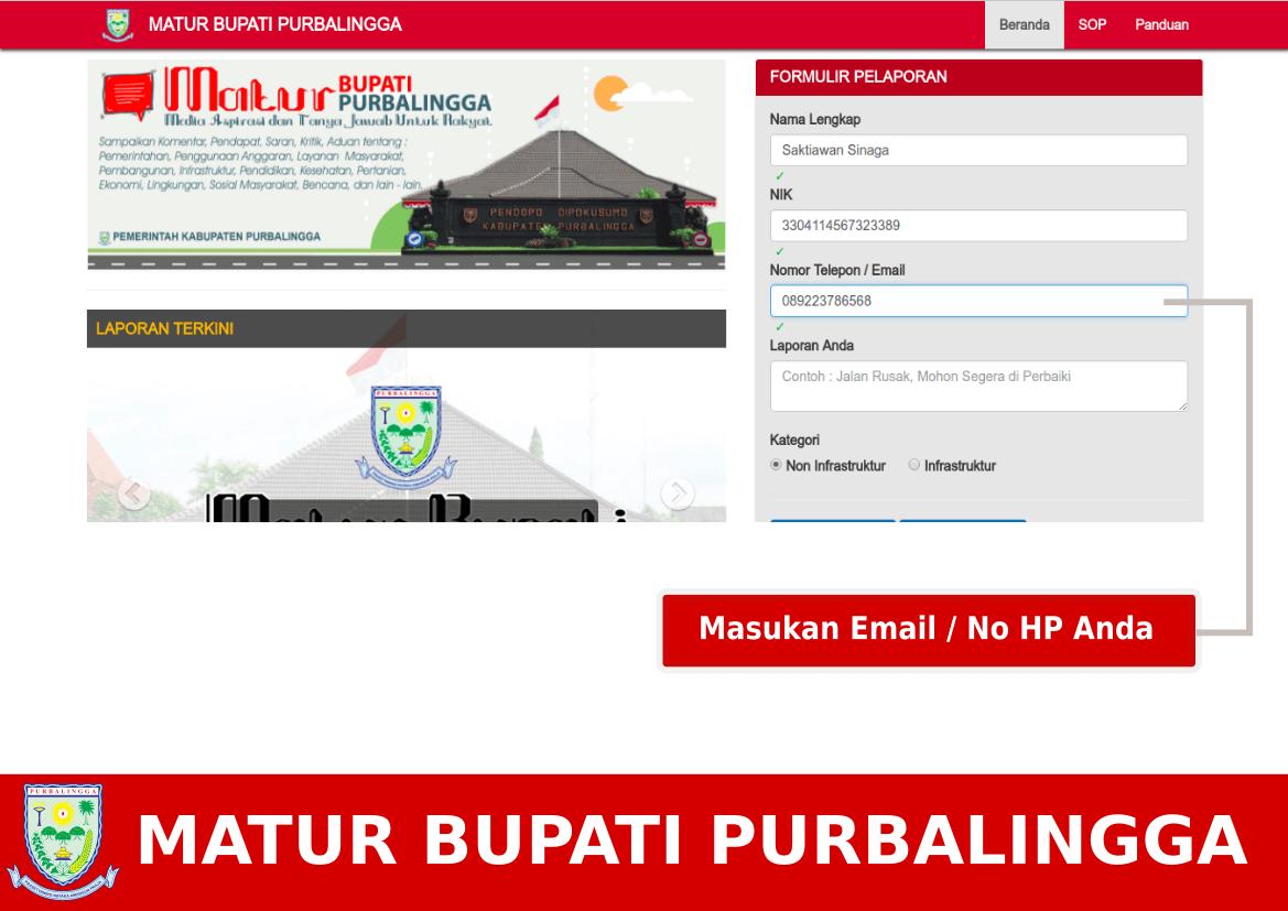 Mengisi Email / No Telpon
